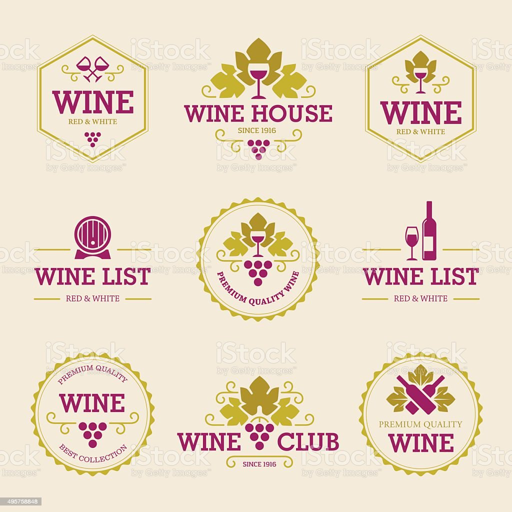 Colored Wine Labels and Badges vector art illustration
