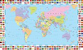 Colored World Map and Flags