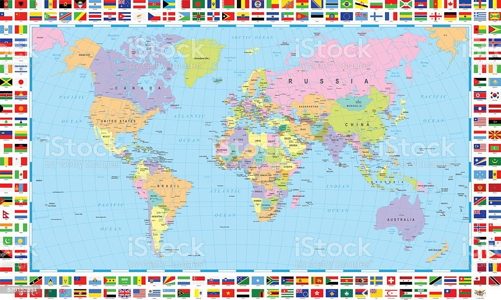 Colored World Map and Flags vector art illustration