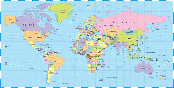 Royalty Free World Map Countries Clip Art Vector Images - World map countries