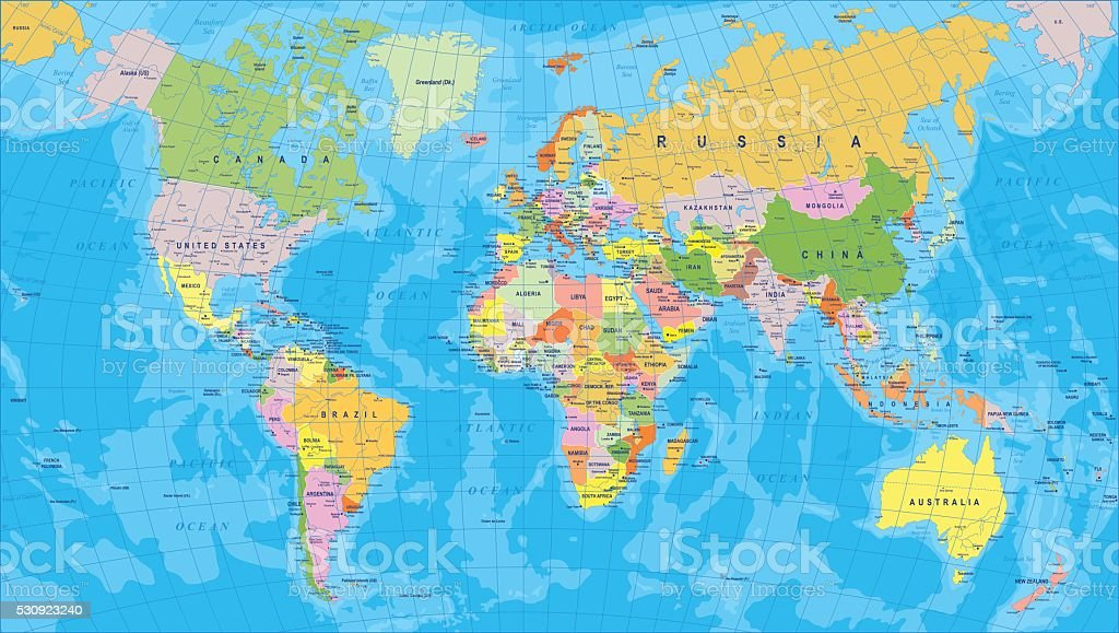 Colored world map borders countries and cities illustration stock colored world map borders countries and cities illustration royalty free colored world gumiabroncs Gallery