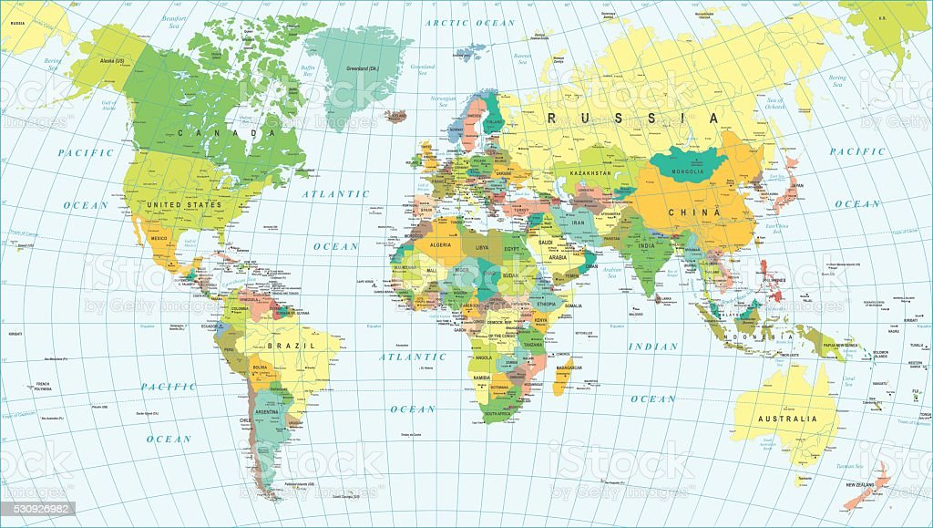 Colored World Map Borders Countries And Cities Illustration Stock - Globe map with countries