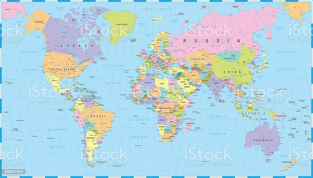 Map Of Canada And Surrounding Countries.Colored World Map Borders Countries And Cities Illustration Stock