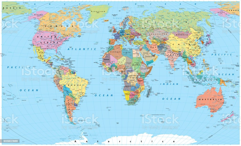 Colored World Map Borders Roads Rivers And Lakes No Text Stock