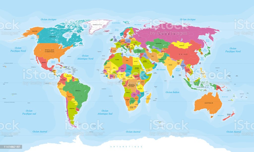 Colored World Map In French Language French Texts Vector ...