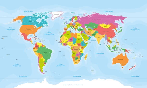 Colored World map in french language. French texts. Vector illustration Detailed colored world map in french language. French texts. Vector illustration. french language stock illustrations
