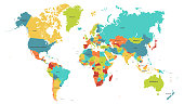 Colored world map. Political maps, colorful world countries and country names. Geography politics map, world land atlas or planet cartography vector illustration
