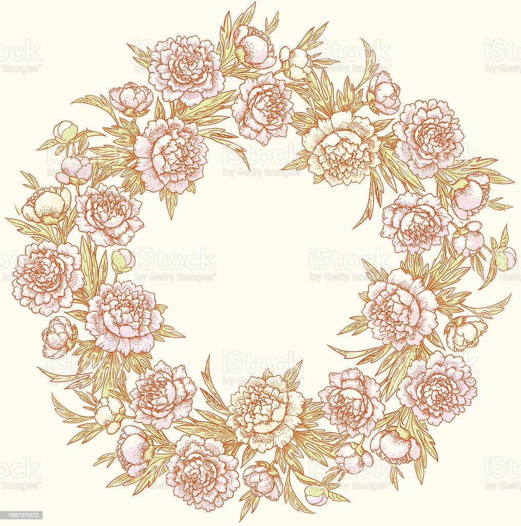 Colored wreath of peonies. royalty-free stock vector art