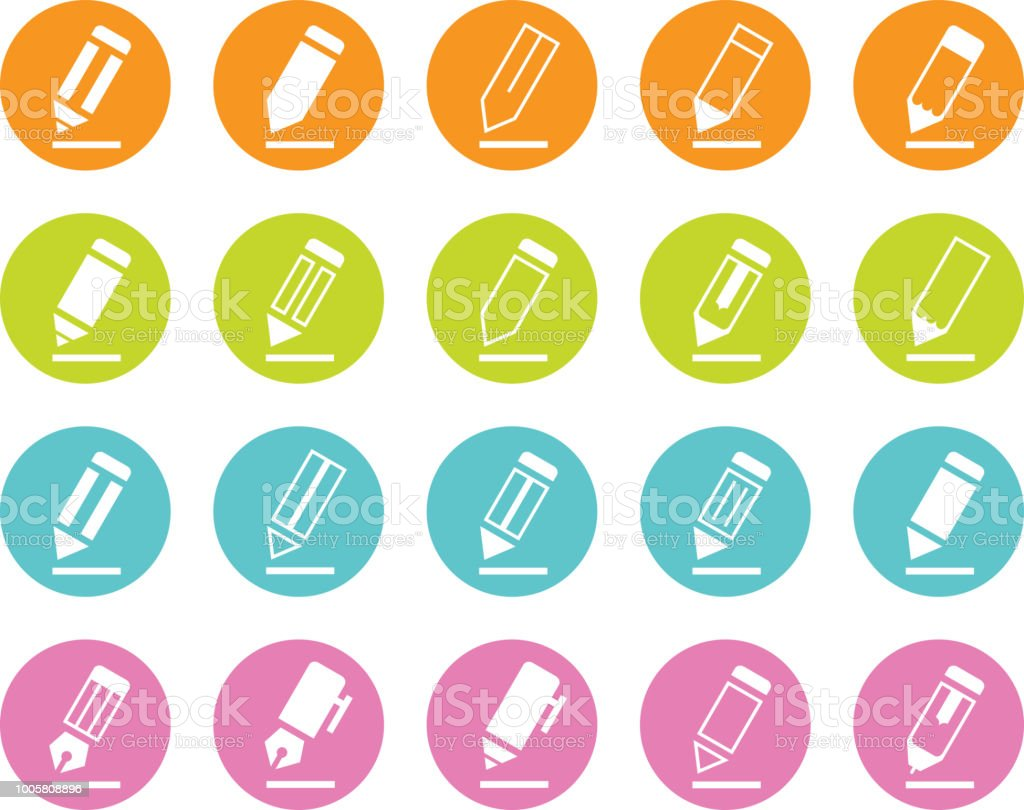 Colored Writing Pencil and Pen Icons vector art illustration