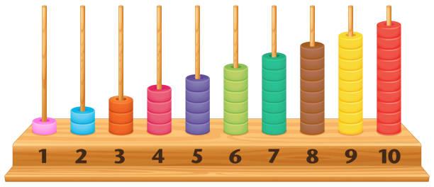 bildbanksillustrationer, clip art samt tecknat material och ikoner med färgglada 1 till 10 abacus - abakus