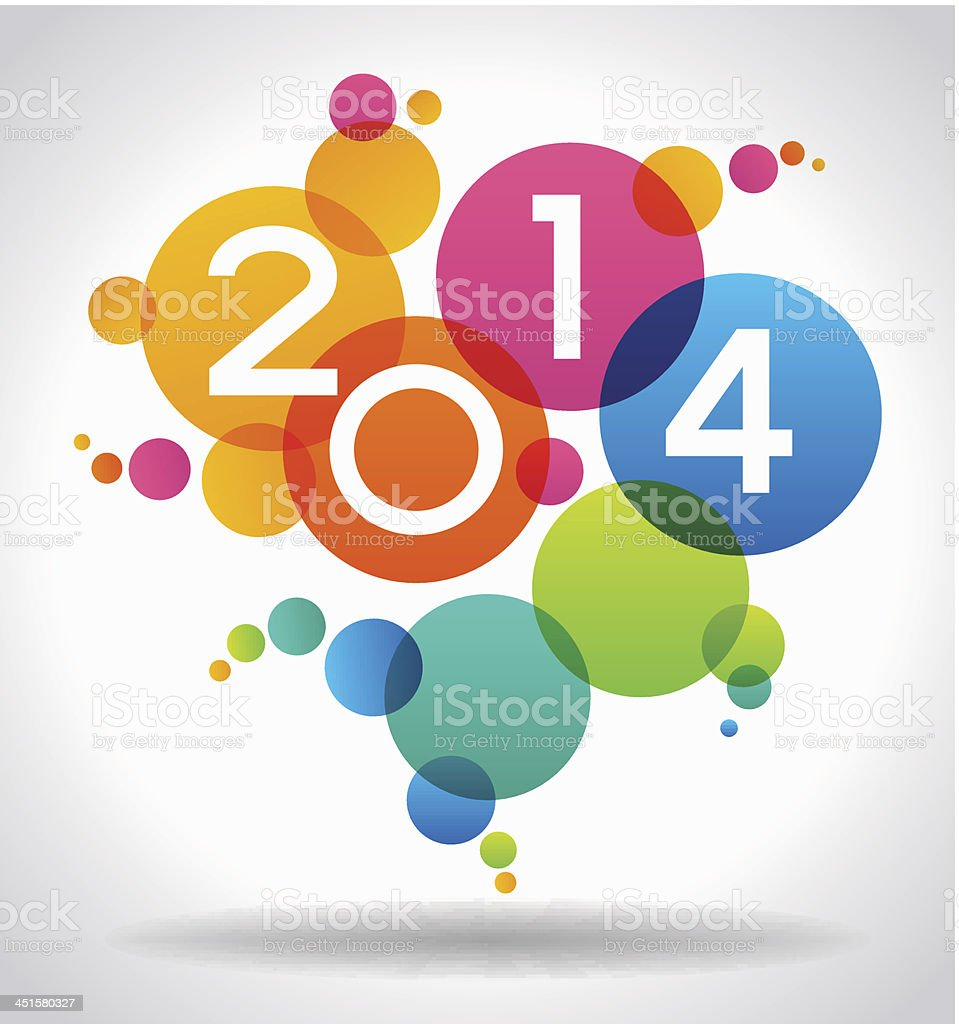 Colorful 2014 New Years vector illustration royalty-free stock vector art