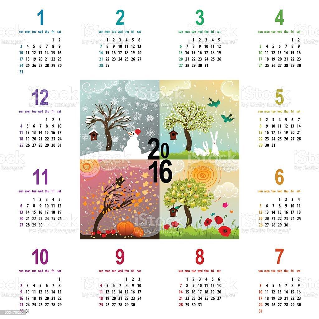 colorful 2016 calendar with four seasons illustration vector art illustration