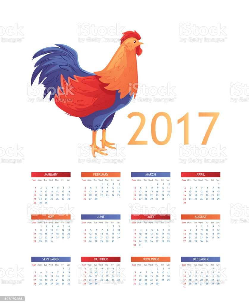 Colorful 2017 calendar with rooster - symbol of the year royalty-free colorful 2017 calendar with rooster symbol of the year stock vector art & more images of 2017