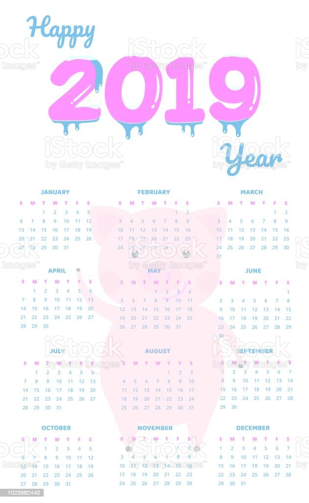 Colorful 2019 New Year Frozen Numbers Sleeping Pig Calendar Template