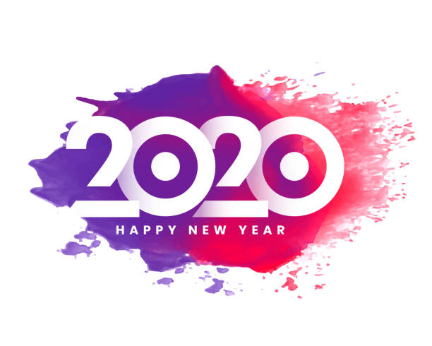 bunte 2020 glücklich neues Jahr Aquarell Hintergrund-Design – Vektorgrafik