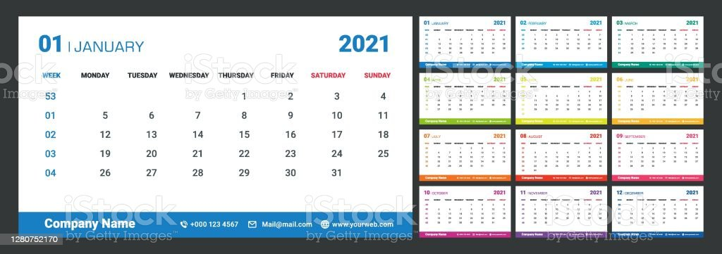 colorful 2021 calendar with week numbers week starts on monday planner diary in a minimalist style template design with place for web phone and company logo stock illustration download image now istock https www istockphoto com vector colorful 2021 calendar with week numbers week starts on monday planner diary in a gm1280752170 378983241