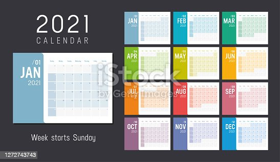 Year 2021 colorful minimalist monthly calendar on black background. Week starts Sunday. Vector template.