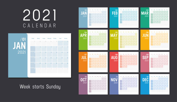 Colorful 2021 horizontal monthly calendar Year 2021 colorful minimalist monthly calendar on black background. Week starts Sunday. Vector template. calendar stock illustrations