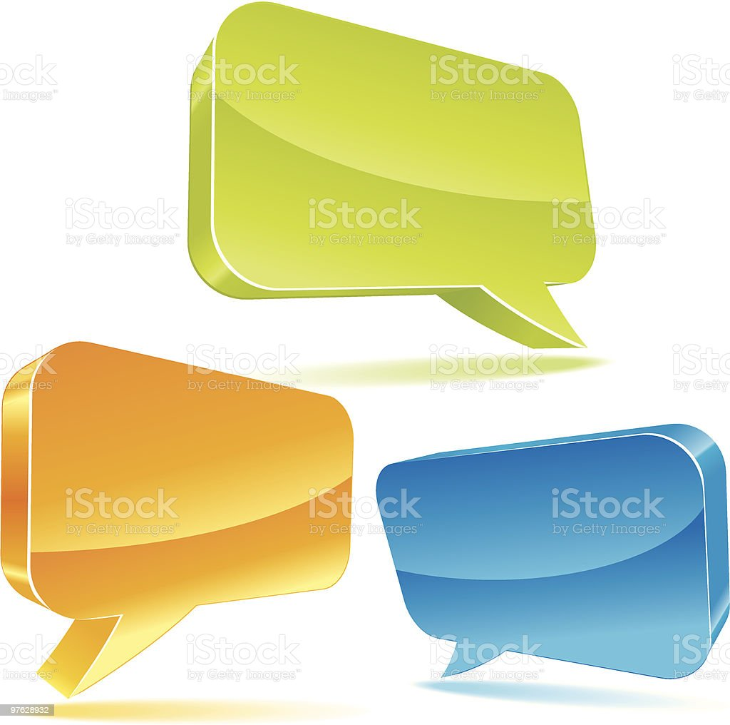 Colorful 3d bubble speech royalty-free stock vector art