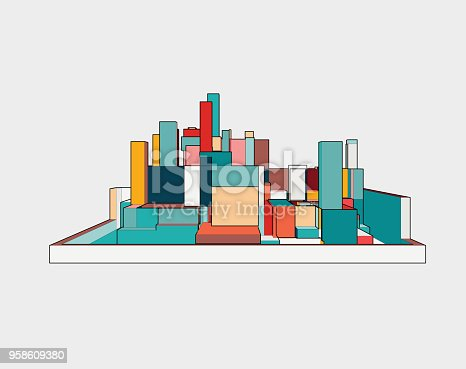 istock colorful 3D building model 958609380
