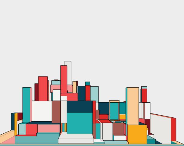 colorful 3D building model colorful 3D building model architecture illustrations stock illustrations