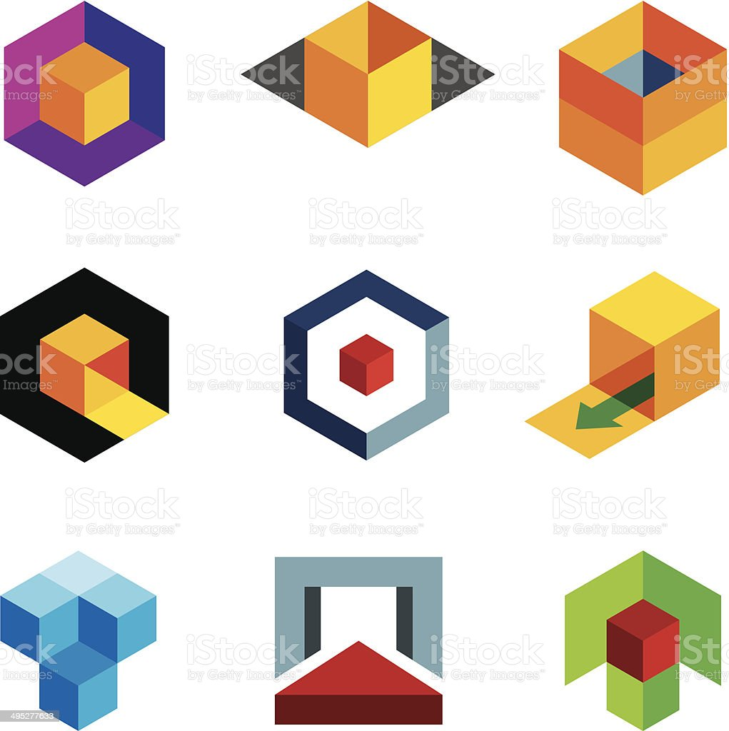 Colorful 3D cube icons vector art illustration