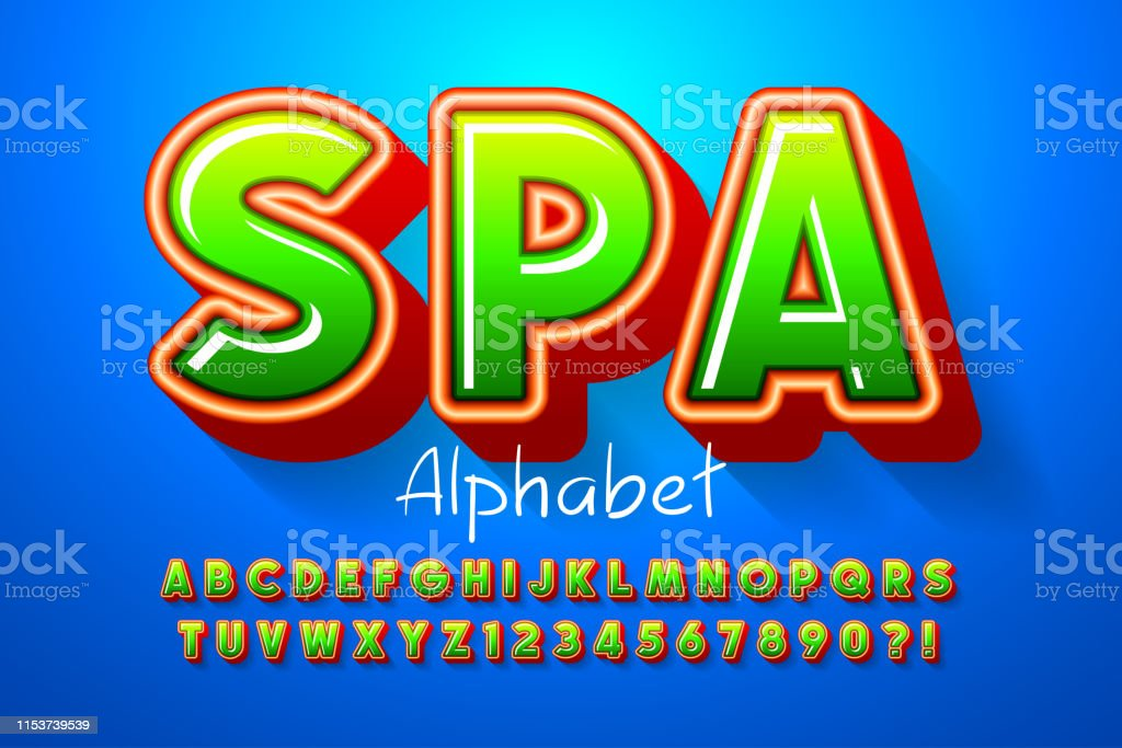Colorful 3d Display Font Design Alphabet Letters Stock