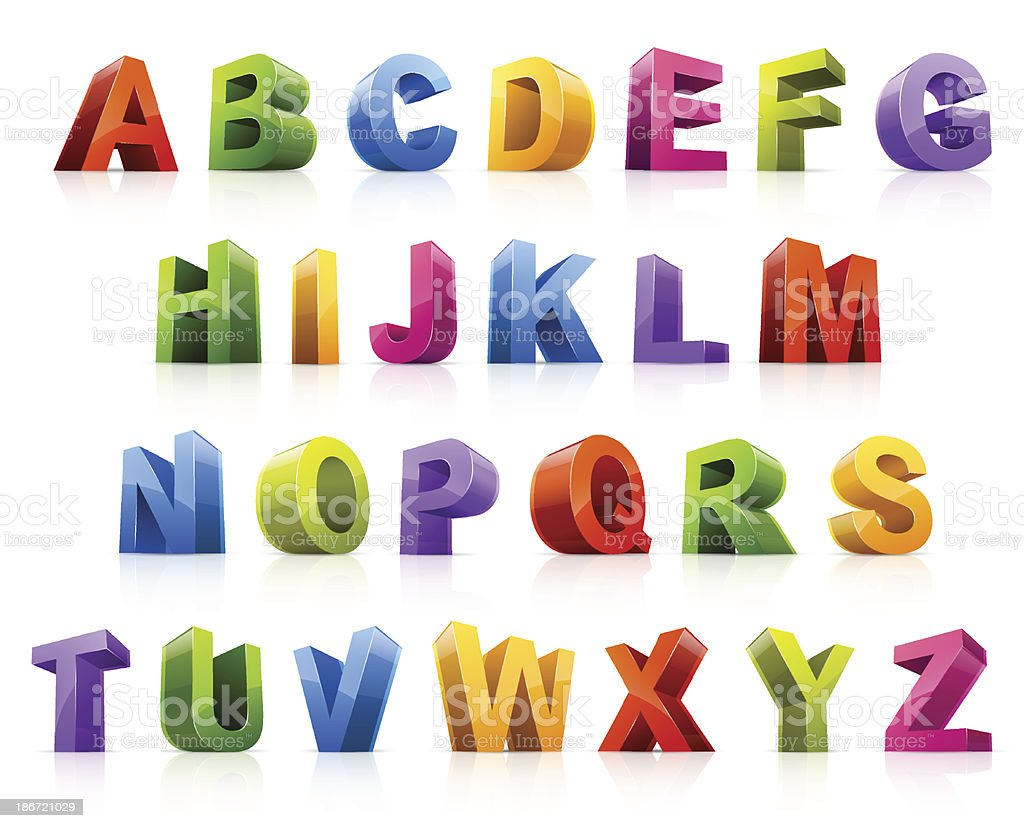 Colorful 3D font from different angles vector art illustration