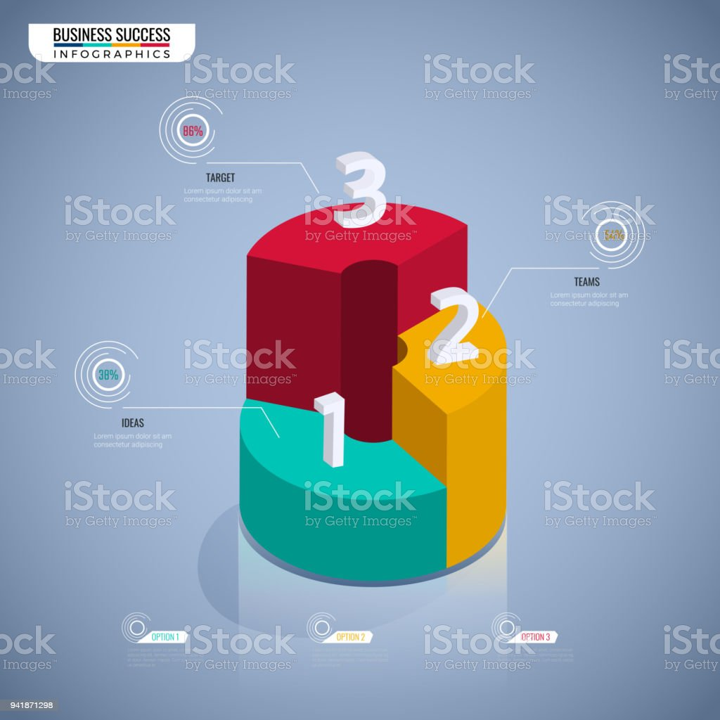 Colorful 3d Graph Stair Step To Success Business Concept Infographic ...