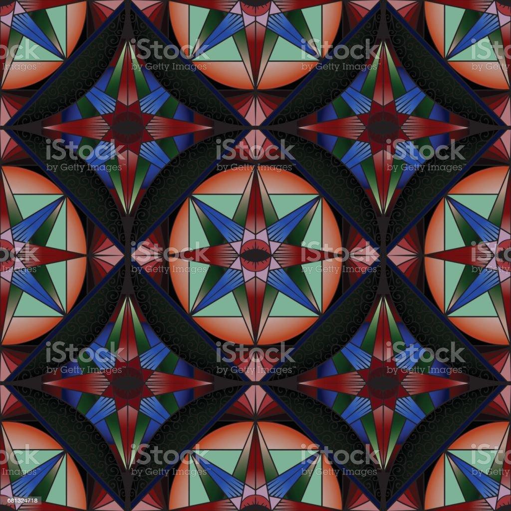 カラフルな Abstact シームレスパターン装飾的な万華鏡のステンド