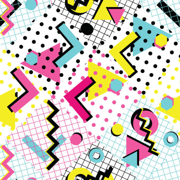 colorful abstract 80s style seamless pattern - 1990s style stock illustrations