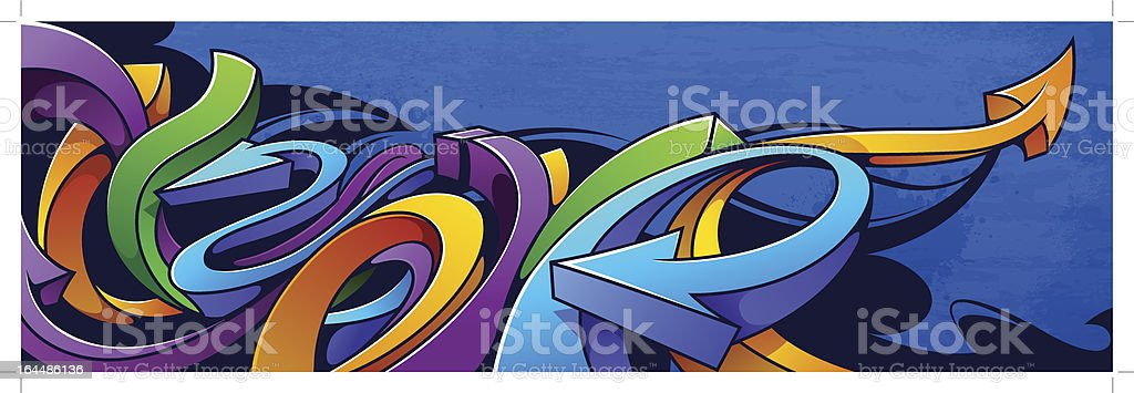 Colorful abstract arrow graffiti background vector art illustration
