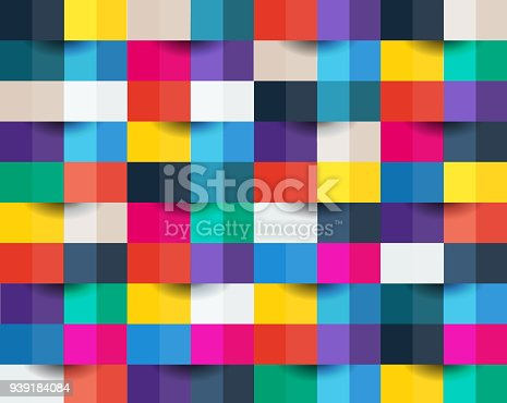 istock Colorful abstract background. Square, box, pixel, paper art. 939184084