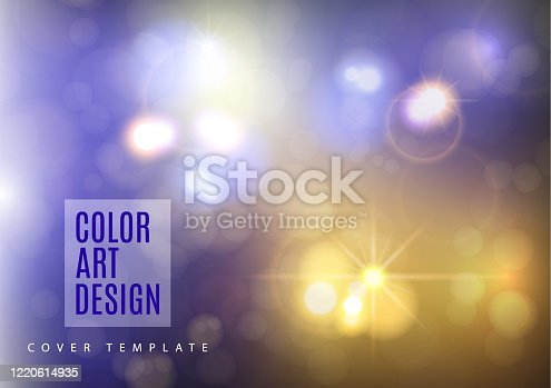 istock Colorful abstract bokeh background with circles of light. Magic design for greeting cards and posters. Place for text. Vector 1220614935