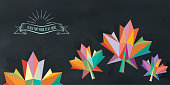 colorful abstract fall leaf on chalkboard with vintage sign