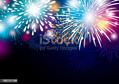 Colorful abstract fireworks background design vector illustration