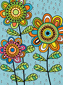 Colorful abstract flowers. Tribal hippie folk art style. Blue background with rain. Design for posters, greeting cards, textile prints, kids mural. Vector Illustration.