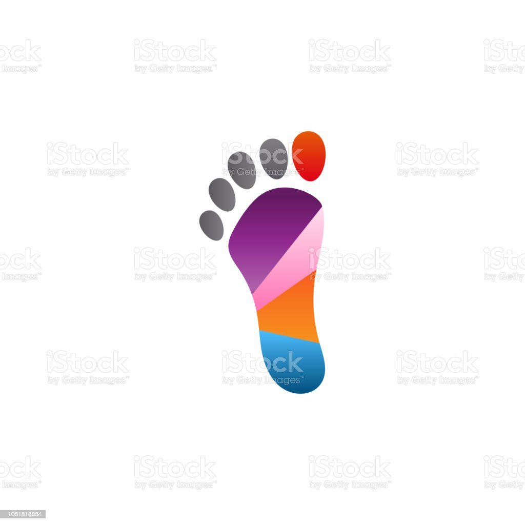colorful abstract foot palm icon template vector stock vector art
