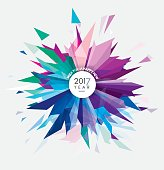 Happy New 2017 year vector illustration with colorful abstract geometric shape forming a glass fireworks burst made of sharp triangles