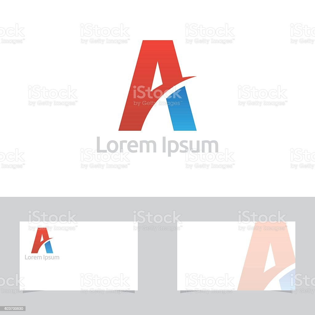 Colorful Abstract Letter A Symbol With Business Card Template vektör sanat illüstrasyonu