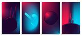 Colorful abstract light neon blurred gradients, retro 80's futuristic background