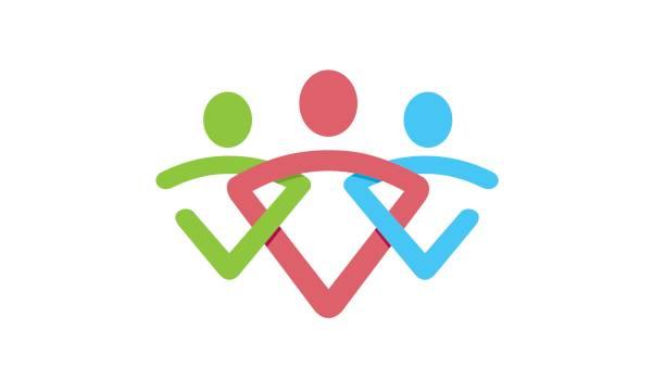 Symbole de peuple abstrait coloré Design - Illustration vectorielle