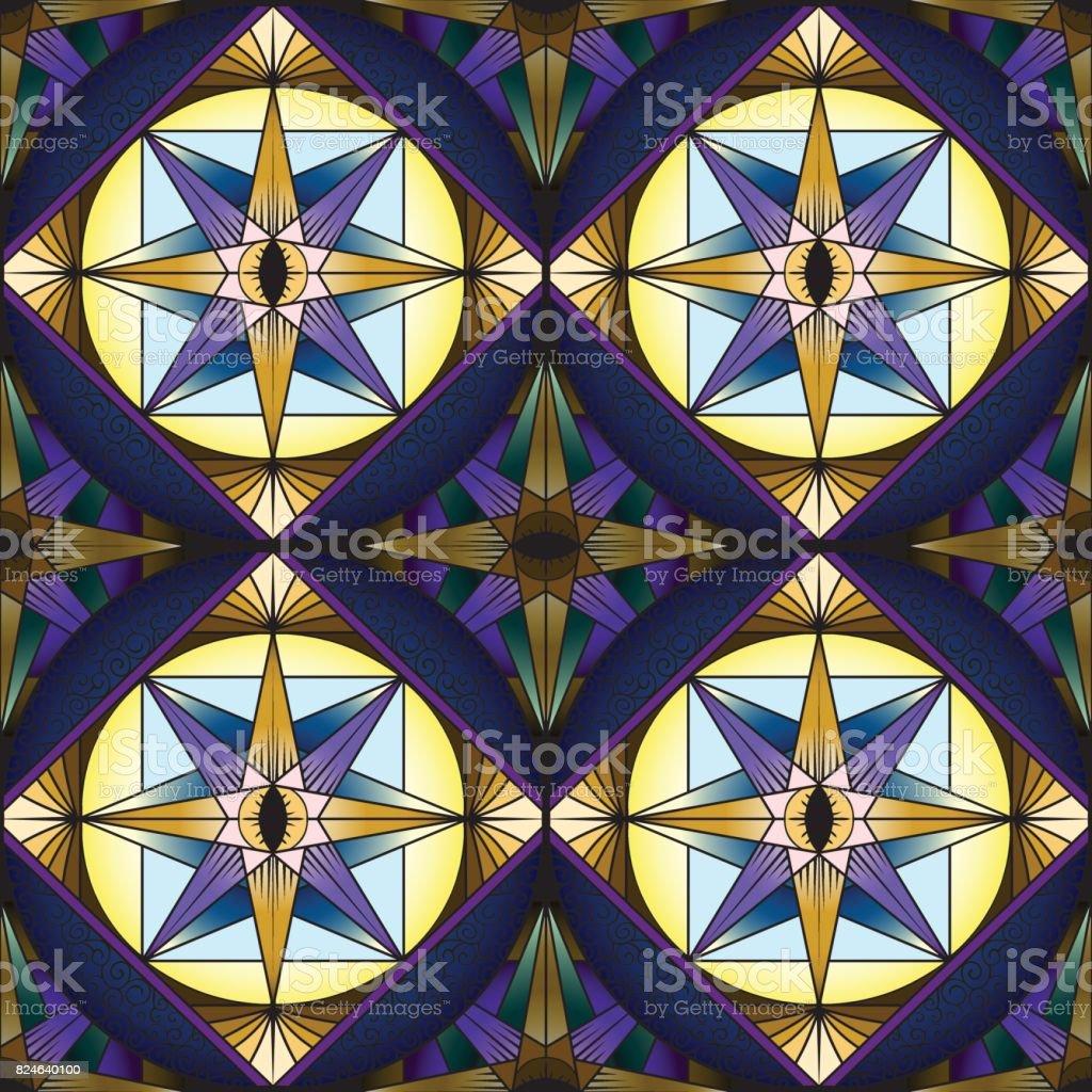 カラフルな抽象的なシームレス パターン装飾的な万華鏡ステンド グラス