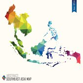 colorful abstract Southeast Asia map, vector illustration, EPS10