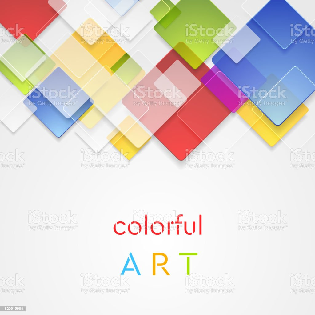 Colorful Abstract Squares Geometric Vector Background Royalty Free Colorful  Abstract Squares Geometric Vector Background Stock