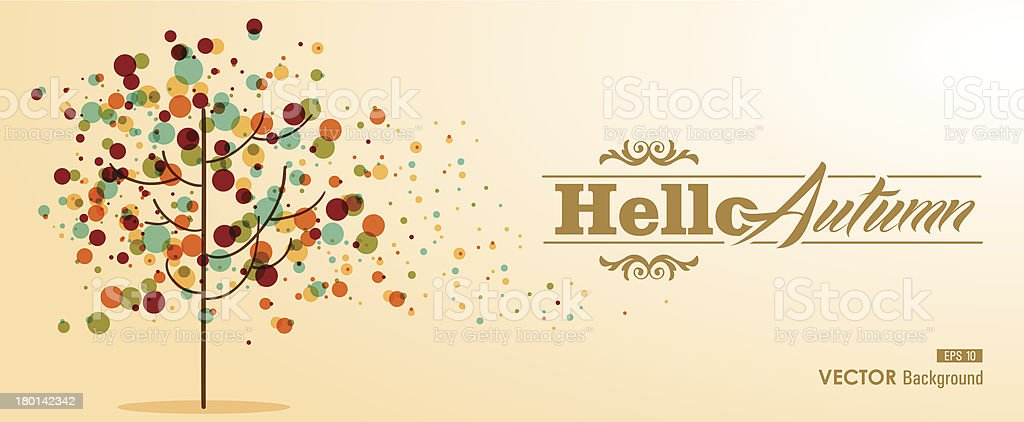 Colorful abstract tree composition, Hello Autumn text. Fall concept illustration. vector art illustration