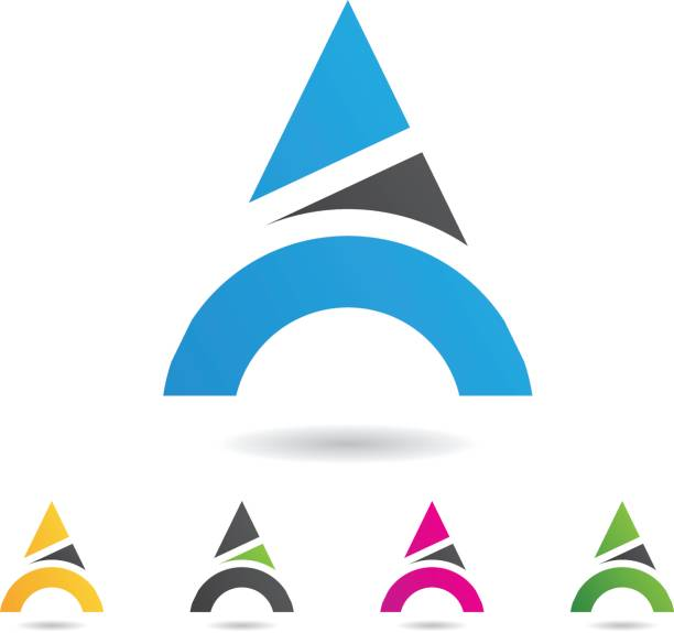 colorful abstract triangle symbol of letter a - alphabet clipart stock illustrations