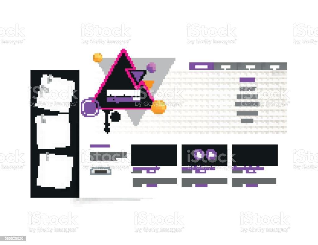 彩色抽象使用者介面設計。 免版稅 彩色抽象使用者介面設計 向量插圖及更多 low-poly-modelling 圖片