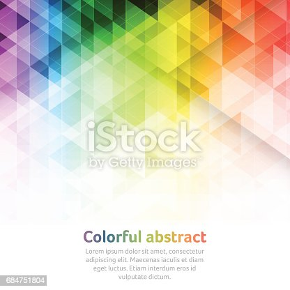 Colorful abstract vector background with triangular geometric pattern and place for your text.