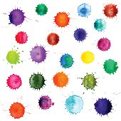 Colorful abstract vector ink paint splats. Set of watercolor blobs, isolated on white background